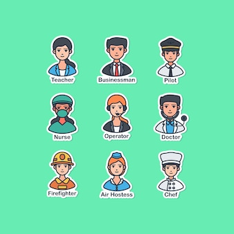 People and occupation sticker vector illustration design