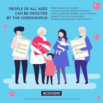 Социальный шаблон коронавируса может заразить людей любого возраста вектор воз