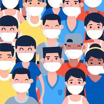 Люди всех национальностей в масках