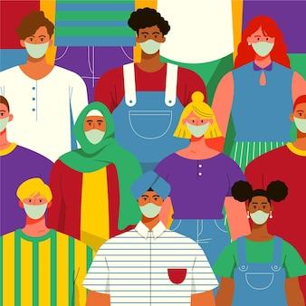 医療用マスクを着用しているすべての国籍の人々