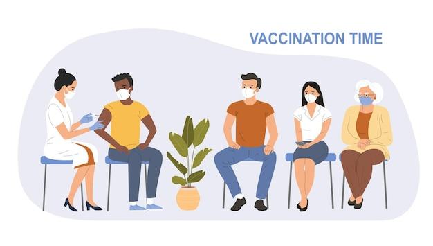 さまざまな年齢の人々が並んでいます。 covid-19に対してワクチン接種を受けているフェイスマスクの女性。ベクトルフラットスタイルの漫画イラスト