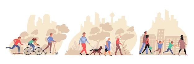 都市公園や通りを歩くさまざまな年齢の人々フラット構成