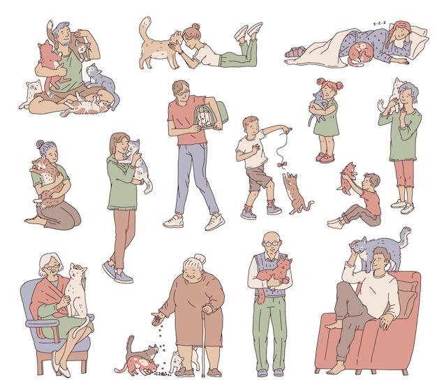 血統のない猫を飼っているさまざまな年齢の人々。キャラクターは抱きしめ、お気に入りのペットの世話をします。落書きの孤立したベクトルイラストを概説します。