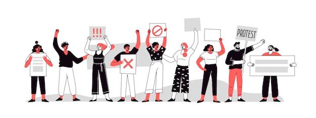 さまざまな国籍の人々がプラカードで抗議しています。デモンストレーションで投票する人々。政治集会の概念と抗議のベクトルの分離。グループ抗議。