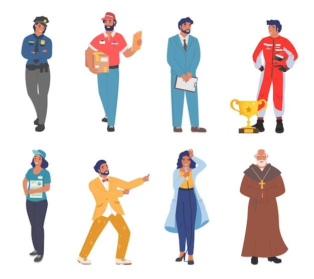制服の漫画のキャラクターセットフラットベクトルのさまざまな職業や職業の労働者の人々...