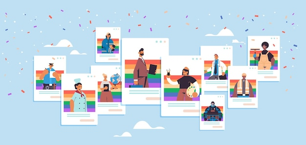 ゲイレズビアンの愛のパレードプライドフェスティバルトランスジェンダーの愛lgbtの概念を祝うさまざまな職業の人々