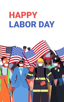 労働者の日を祝うさまざまな職業の人々がレース労働者を混ぜる