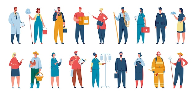 Люди разных профессий, профессиональные рабочие в погонах. персонажи с различными профессиями доктор, художник, учитель векторный набор. сотрудники мужского и женского пола с рабочим оборудованием