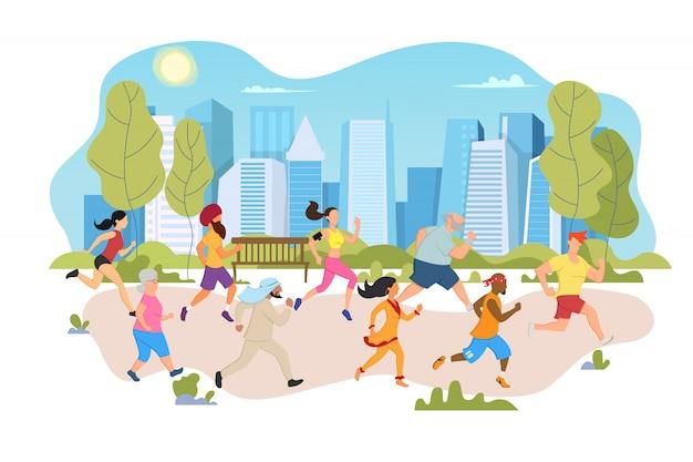 인종과 문화가 다른 사람들은 도시 공원에서 공동 마라톤을합니다.
