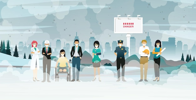 다양한 직업의 사람들은 도시 전체에 퍼진 먼지와 오염 문제에 직면 해 있습니다.