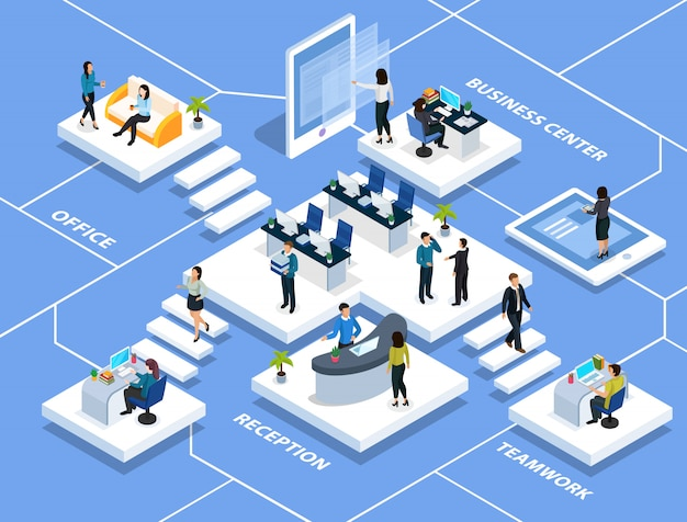 People in office during professional activity isometric multi storey composition on blue Free Vector
