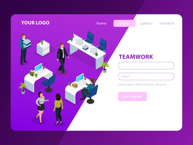 People in office during work isometric web page on purple white
