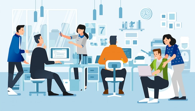 People in office with their activities, discussing, working with computer, with office interior illustration