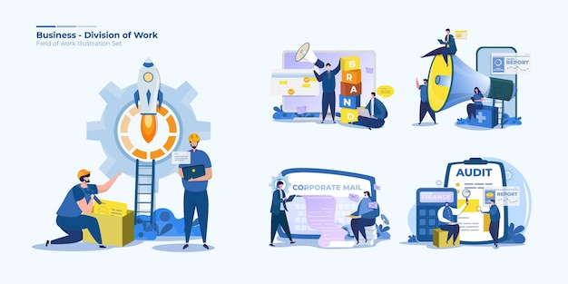 People office worker division illustrations set