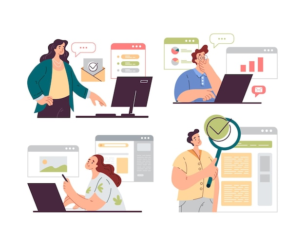 People office workers characters analyzing and auditing business processes isolated set