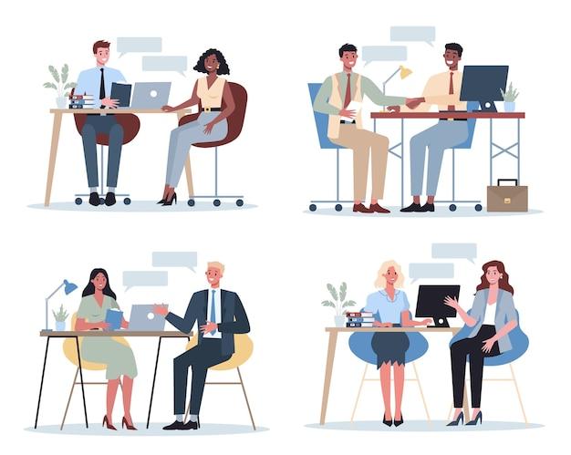 Набор людей на собеседование. идея деловой компании и разговор с сотрудником.