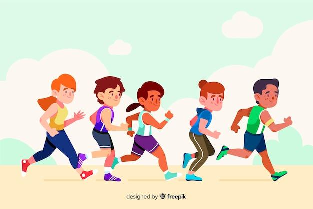 마라톤 경주에있는 사람들