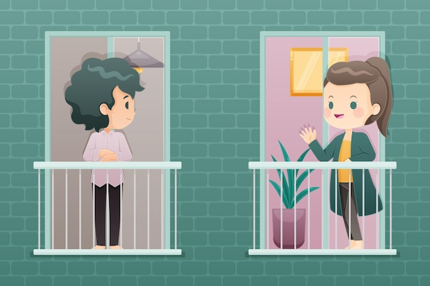Люди на балконах или окнах