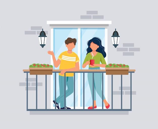Люди на балконе, концепция коронавируса. оставайтесь дома во время эпидемии.