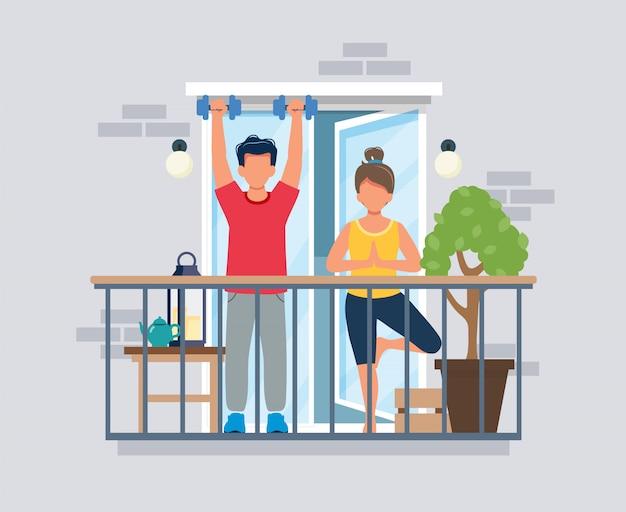 トレーニング、コロナウイルスの概念をやっているバルコニーの人々。流行中は家にいること。