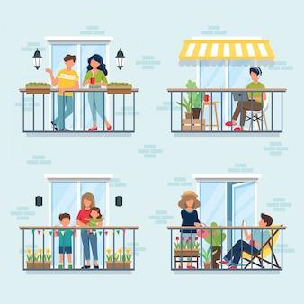 발코니, 사회적 격리 개념에 사람들입니다. 전염병이있는 동안 집에있어 라.