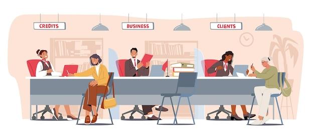 은행 사무실 리셉션에 사람들입니다. 캐릭터는 은행 금융 서비스를 사용합니다. 예금에 대해 관리자와 이야기하는 클라이언트