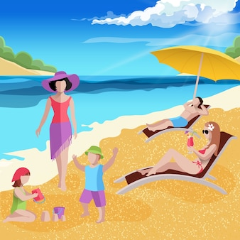 海岸でスポーツをしている熱帯の海の風景の子供たちとビーチの構成の人々