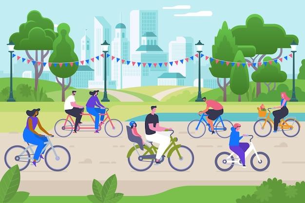 自転車の人々フラットベクトルイラスト。笑顔の男性と女性の漫画のキャラクター。アクティブなレクリエーション、健康的なライフスタイル、野外活動。環境にやさしい交通機関、公園で幸せなサイクリスト
