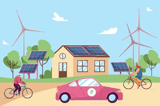 지붕에 태양 전지 패널이 있는 집 앞에서 자전거를 타는 사람들. 풍차, 마을 평면 벡터 삽화의 친환경 자동차. 지속 가능한 에너지, 배너, 웹 사이트 디자인을 위한 스마트 기술 개념