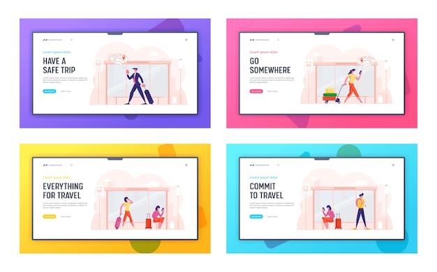 Набор целевой страницы веб-сайта `` люди на автобусной остановке ''
