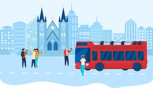 市内の人々はバスツアーのイラストを旅行します。