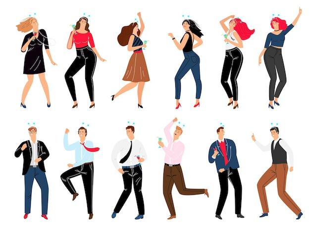 Люди на корпоративной вечеринке. мультфильм счастливые мужчины и женщины танцуют в модных костюмах и пьют вино, векторная иллюстрация концепции делового отдыха после совместной работы