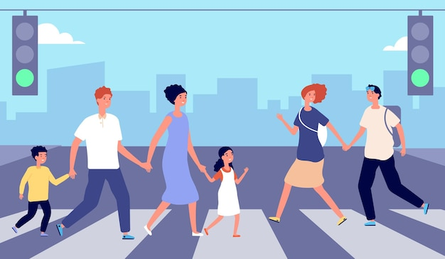 Люди на пешеходном переходе. движение людей, пешеходная толпа, улица города. мужчина женщина пересекает дорогу на зеленый свет, городской образ жизни векторные иллюстрации. пешеходный переход люди дорога улица, городское движение