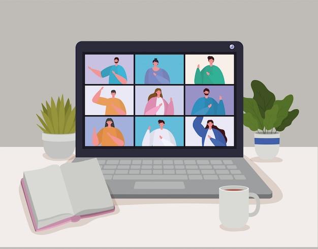 ビデオ会議でのラップトップの人々