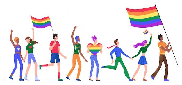 Lgbtプライドパレードイラストの人々。白の性差別抗議lgbtパレードに虹色の旗を保持している漫画のレズビアンゲイ両性トランスジェンダーの奇妙なキャラクターグループ