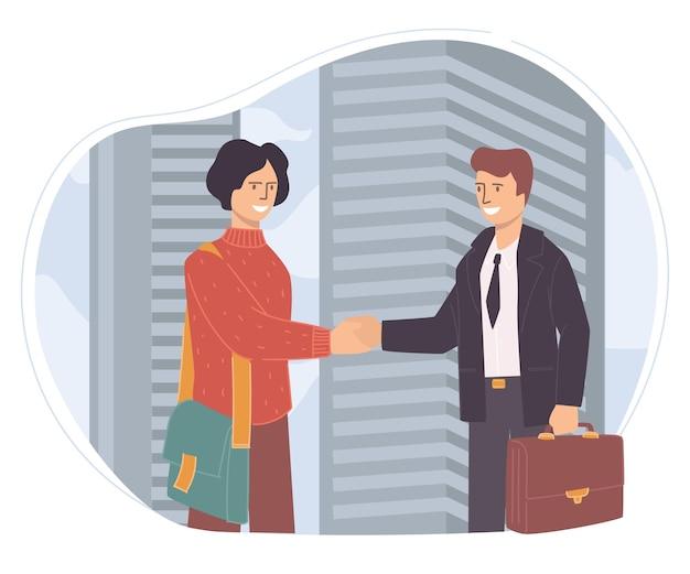 회의에 참석하는 사람들, 비즈니스 사람들 또는 파트너가 미소를 지으며 악수합니다. 회사 모임에서 서류 가방을 든 캐릭터. 고용주와 직원, 사무실에서 일하는 동료. 평면 스타일의 벡터