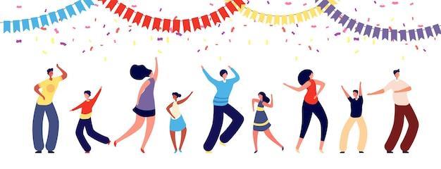 파티에있는 사람들. 재미있는 댄스 그룹.