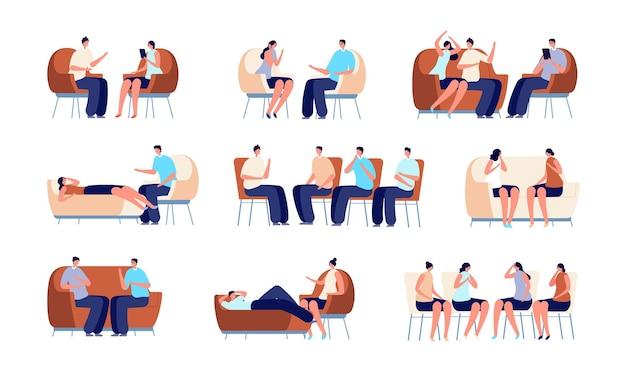 심리 치료를 받는 사람들. 그룹 치료, 부부와 이야기하는 심리학자. 가족 심리학, 소파에 있는 사람, 정신 분석가 벡터 세트. 심리학 및 심리학자, 여성 심리 치료 그림