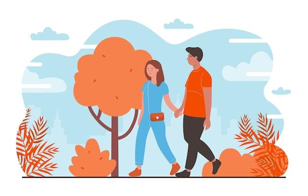 ロマンチックなデートのイラストの人々。幸せな若いカップルのキャラクターのデート、秋の都市公園で一緒に歩く、手をつないでペアの恋人、ロマンスと愛