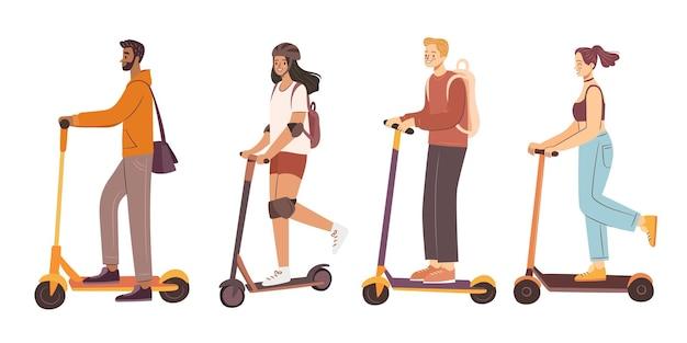 Люди на скутерах мужчина и женщина катаются на личном экологическом транспорте на электросамокате в городе