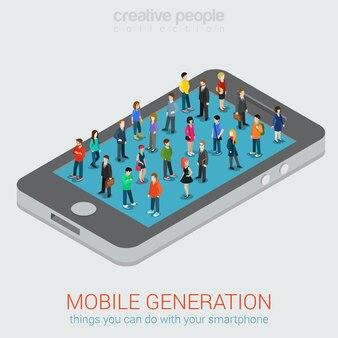 Люди на экране смартфона иллюстрации
