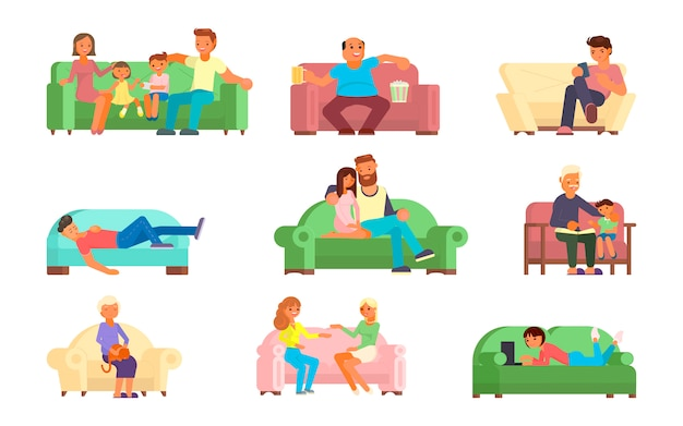 ソファのフラットスタイルの図の人々