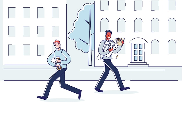 Люди на улице едят фаст-фуд, спешат в офис.