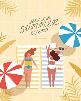 夏のビーチの人々