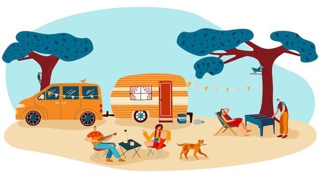 Люди на летнем лагере пикник иллюстрации, мультяшный плоский мужчина женщина турист путешественник персонажи веселятся вместе, изолированные на белом