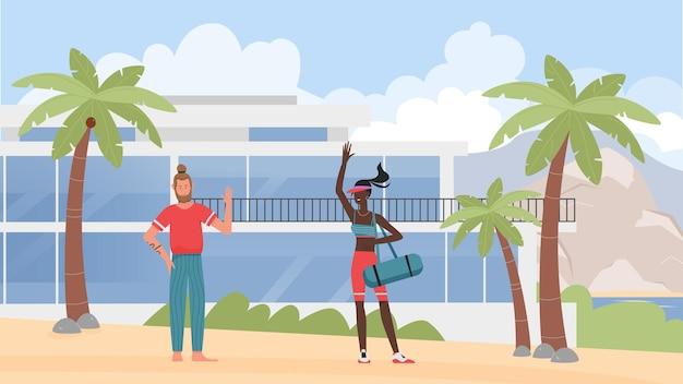 Люди на летних каникулах векторные иллюстрации. мультфильм мужчина женщина друзья персонажи машут, стоя на пляже тропического острова с пальмами и курортным отелем Premium векторы
