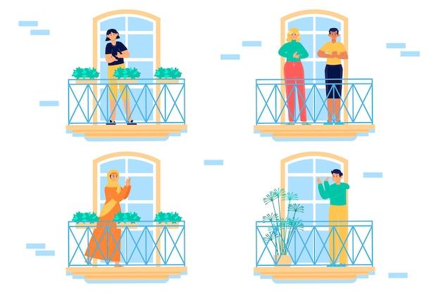 Люди на балконах хлопают в ладоши