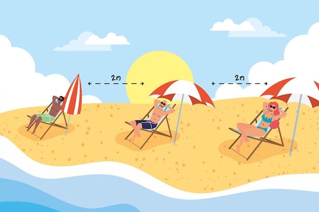 社会的距離のシーン、夏の休暇を練習している浜辺の人々