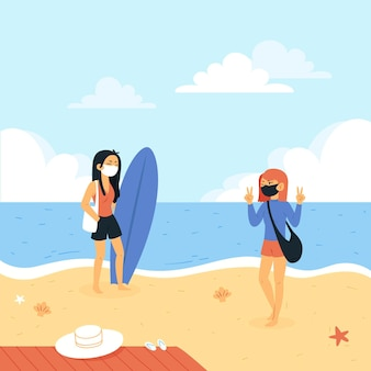 얼굴 마스크를 쓰고 해변에서 사람들