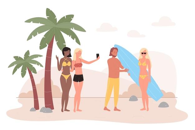 熱帯の海のビーチのイラストの人々。幸せな友達のキャラクターは、夏の海辺の熱帯地方で屋外で楽しい時間を過ごし、自撮り写真を撮り、コミュニケーションを取ります。夏のレジャー